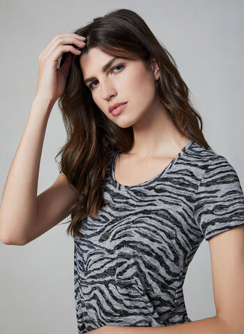 Vince Camuto - Tiger Print Top, Grey,  Vince Camuto, top, t-shirt, short sleeves, tiger print, fall 2019, winter 2019