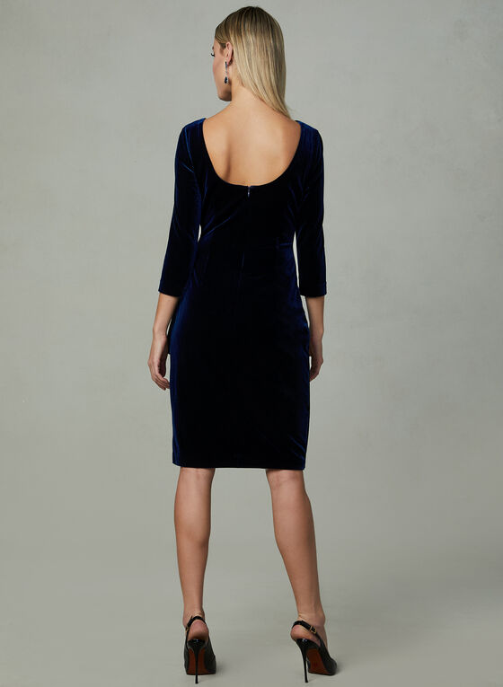 Alex Evenings - Ruched Velour Dress, Blue, hi-res