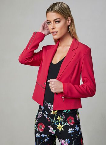 Open Front Blazer, Red, hi-res