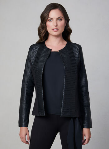 Frank Lyman - Open Front Jacket, Black, hi-res,  fall winter 2019, long sleeves, frank lyman, faux leather