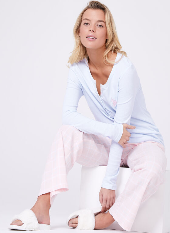 U.S. Polo Assn. - Plaid Print Flannel Pajama Set, Blue, hi-res