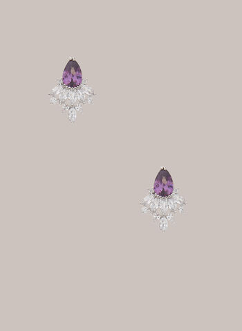 Geometric Droplet Crystal Earrings, Purple,  Fall winter 2020, jewellery, earrings, stone, accessories, crystal