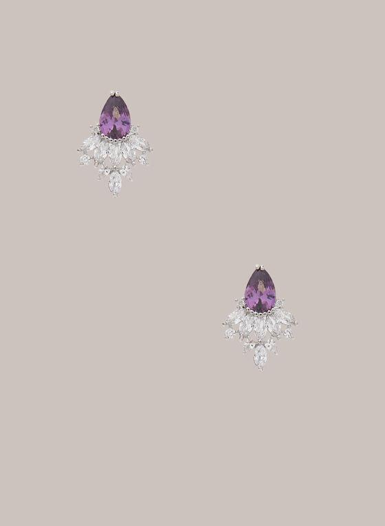 Boucles d'oreilles gouttes à cristaux, Violet