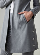 Notched Collar Redingote Jacket, Grey, hi-res