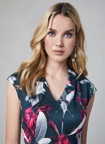 Floral Print Scuba Dress, Black, hi-res,  scuba, fitted, sleeveless, extended sleeves, fall 2019, winter 2019