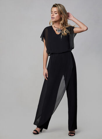 Joseph Ribkoff -  Chiffon Overlay Jumpsuit, Black, hi-res,  fall winter 2019, short sleeves, jumpsuit, stretchy fabric, straight leg, chiffon, poncho overlay
