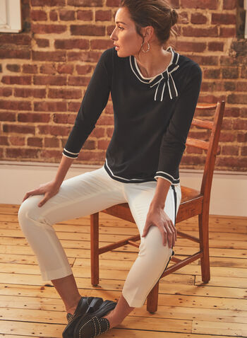 Vince Camuto - 3/4 Sleeve Bow Detail Sweater, Black,  sweater, knit, 3/4 sleeves, bow, contrast, spring summer 20211