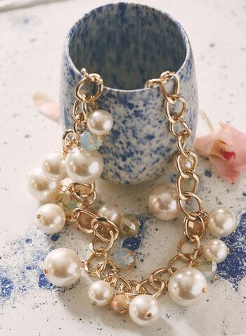 Collier à maillons et perles , Blanc cassé,  bijoux, collier, perle, métallique, chaîne, bille, pierre, printemps été 2021