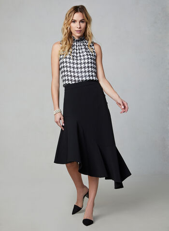 Side Button Asymmetric Skirt , Black, hi-res,  skirt, asymmetric hemline, godet, buttons, online exclusive, fall 2019