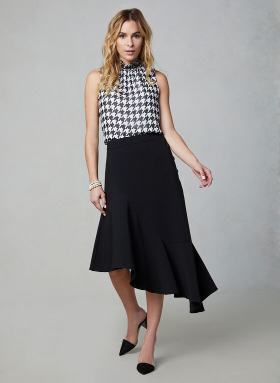 Side Button Asymmetric Skirt , Black, hi-res