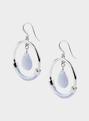 Boucles d'oreilles créoles avec perle au centre, Bleu, hi-res