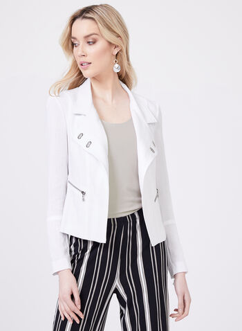 Vex – Metal Detail Cropped Jacket, White, hi-res
