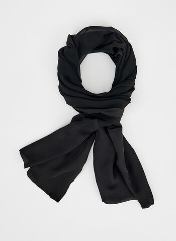 Lightweight Chiffon Scarf , Black, hi-res