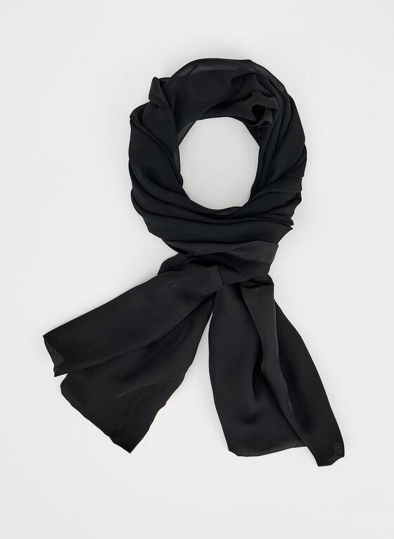 Foulard en mousseline à bordure satinée, Noir, hi-res