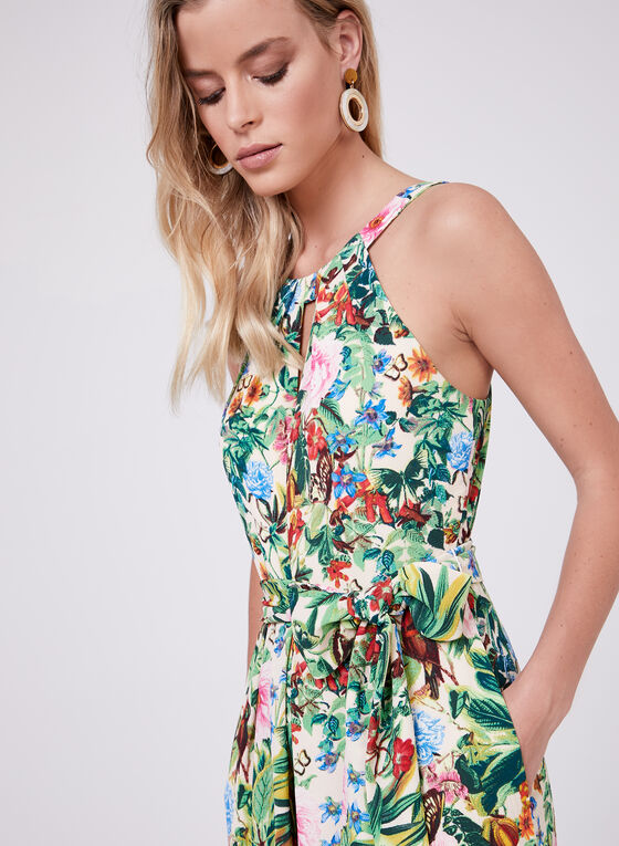 Maggy London - Floral Print Gaucho Jumpsuit, Multi