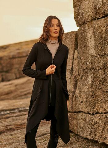 Joseph Ribkoff - Zip Front Hooded Jacket, Black,  fall 2021, made in canada, joseph ribkoff, jacket, zipper, front, long sleeves, hooded, front pockets, asymmetric, hem, flare, long