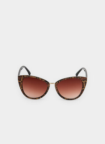Snake Print Cat Eye Sunglasses, Brown, hi-res