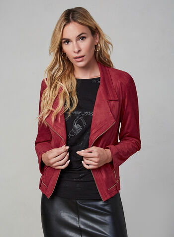 Vex - Zipper Trim Jacket , Red, hi-res,  Vex, jacket, suede, long sleeves, zipper details, notched collar, fall 2019, winter 2019