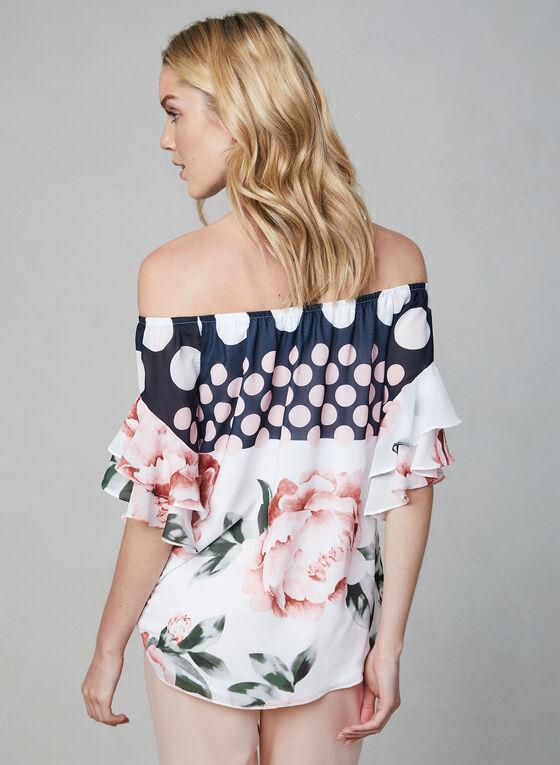Frank Lyman - Floral Print Off-the-Shoulder Top, White, hi-res