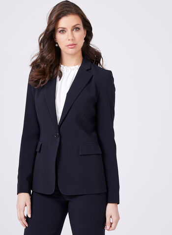 Louben - Tailored Triacetate Blend Blazer , Blue, hi-res
