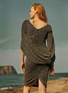 Robe pailletée à drapé style cape, Noir