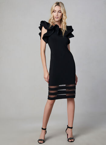 Joseph Ribkoff - Flounce Neck Mesh Hem Dress, Black, hi-res,  flounce neck, mesh hemline, sleeveless, fall 2019, winter 2019