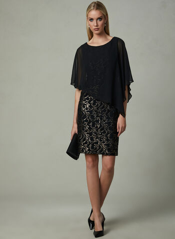 Frank Lyman - Soutache Poncho Dress, Black, hi-res