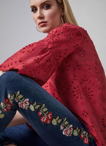 Embroidered Capri Jeans, Blue, hi-res,  jeans, capris, embroidered, spring 2019