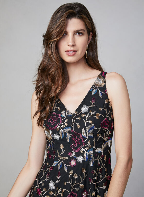 Vince Camuto - Embroidered Mesh Dress, Black
