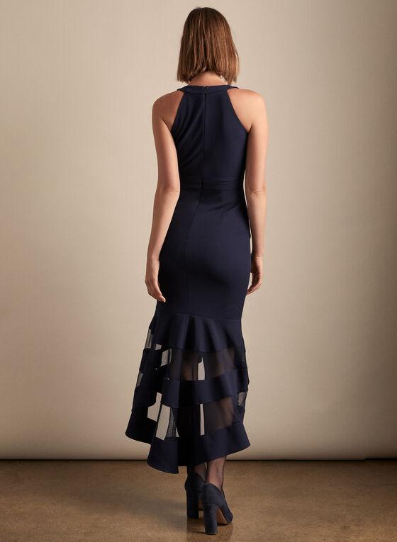 BA Nites - Mesh Detail V-Neck Dress, Blue
