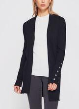 Cardigan ouvert en tricot et boutons décoratifs, , hi-res
