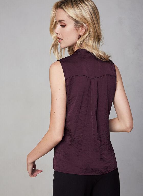 Sleeveless Satin Blouse, Purple