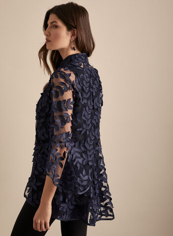 Frank Lyman - Leaf Appliqué Jacket, Blue,  jacket, mesh, ruffle sleeves, bell sleeves, leaves, appliqués, spring summer 2020