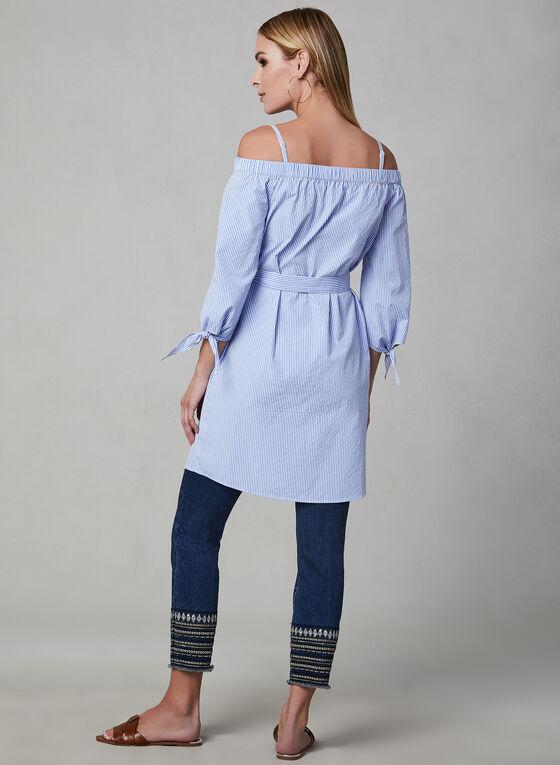 Stripe Print Belted Tunic, Blue, hi-res
