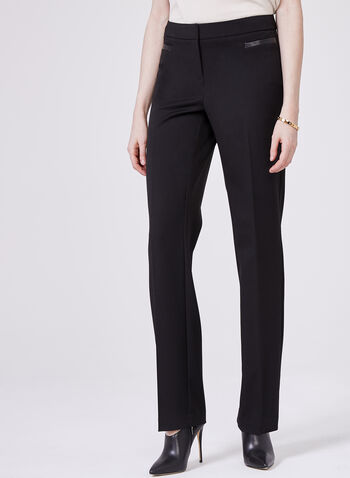 Lauren Tailored Fit Straight Leg Pants , Black, hi-res