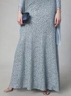 Alex Evenings - Sequin Lace Dress & Scarf Set, Silver, hi-res