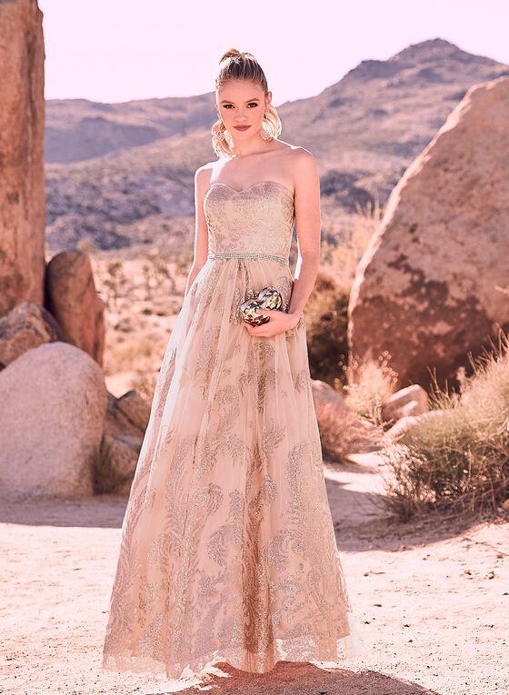 Cachet - Glitter Embellished Tulle Gown, Pink, hi-res