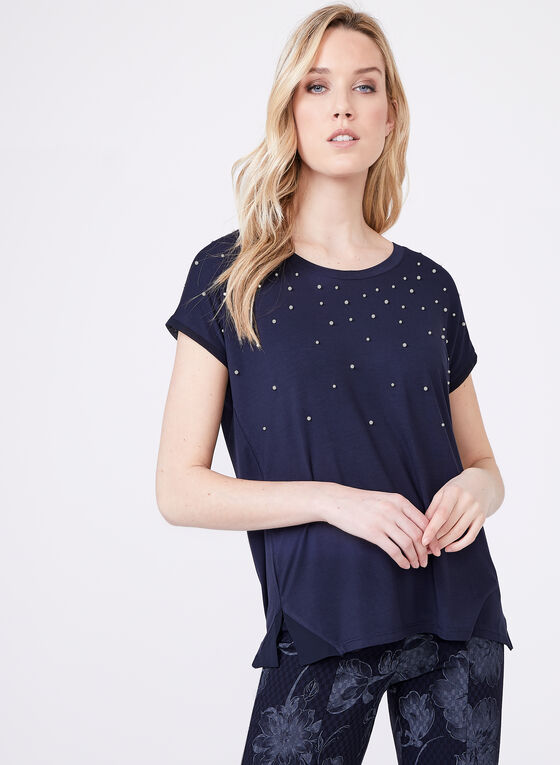 Leo & Ugo – Cap Sleeve Pearl Embellished Top, Blue, hi-res