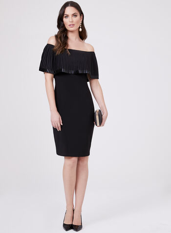 Frank Lyman - Off The Shoulder Popover Dress, Black, hi-res