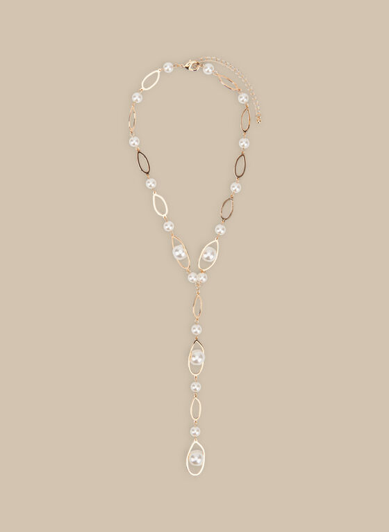 Chain & Pearl Y-Necklace, Off White