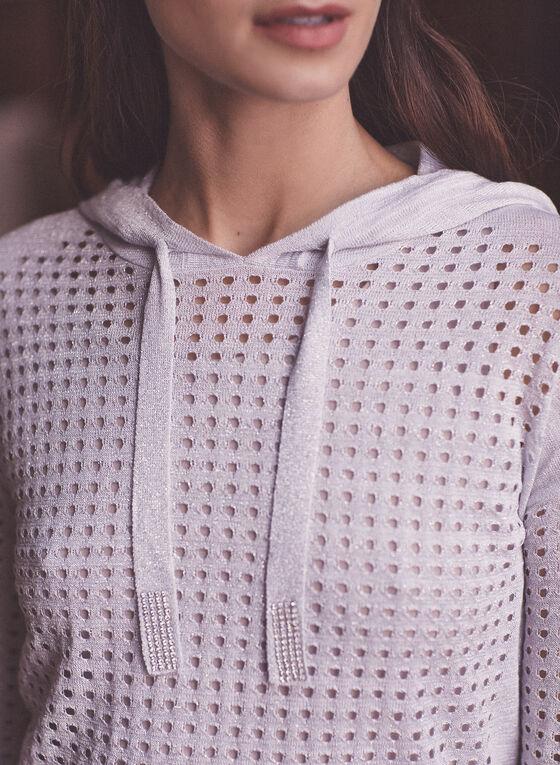 Joseph Ribkoff - Open Weave Hooded Sweater, Silver