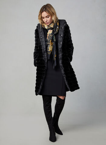 Reversible Faux Fur Coat, Black, hi-res,  fall winter 2019, faux fur, long sleeves, hood
