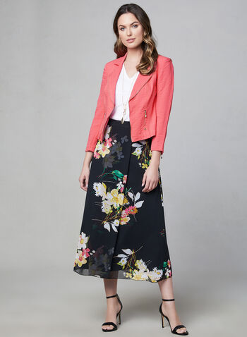 Floral Print Maxi Skirt, Black, hi-res,  long skirt, chiffon, pleated, long skirt, summer 2019