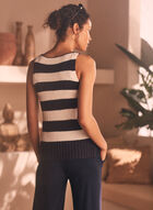 Stripe Print Sleeveless Sweater, Blue