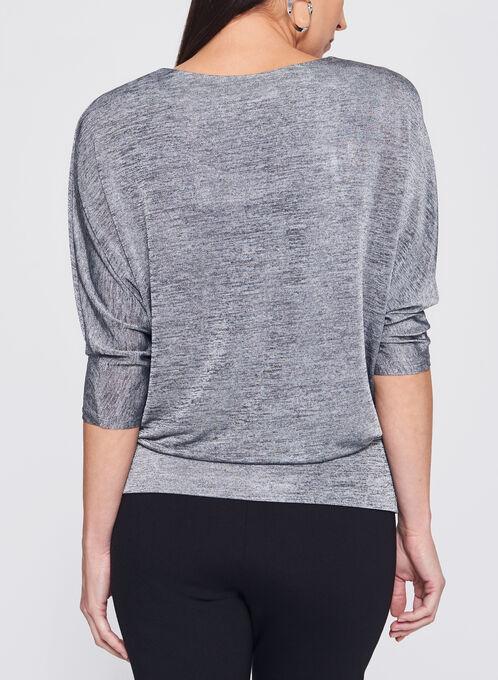 Dolman Sleeve Faux Wrap Top, Silver, hi-res