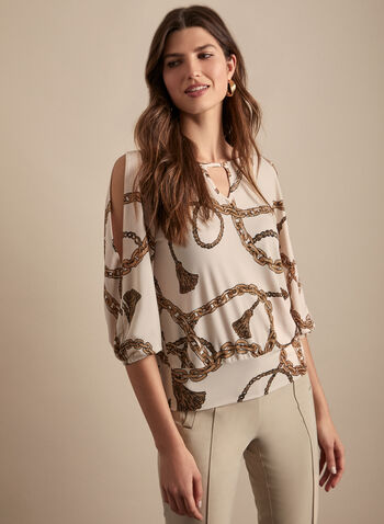 Chain Print Top, White,  spring summer 2020, 3/4 balloon sleeves, chain print, stretchy crepe, boat neck, made in canada