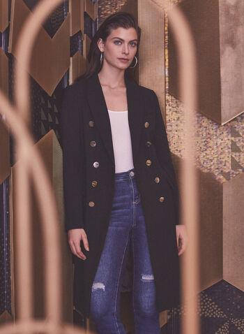 Manteau militaire à double boutonnage, Noir,  automne hiver 2020, manteau, double boutonnage, militaire, ajusté, martingale, poches, tricotine, gabardine