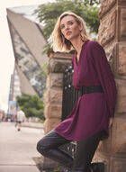 Belted V-Neck Tunic, Purple