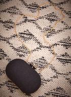 Marble Detail Evening Clutch, Black