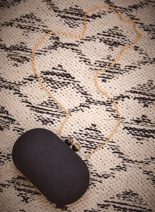 Pochette ovale scintillante à chaîne amovible, Noir